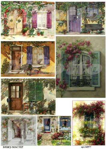 Rice paper decoupage 160977 napkin vintage window door Decoupage supplies