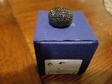 SWAROVSKI JET BLACK HEMATITE STONE CRYSTAL RING SIZE 6 52 RETIRED #5017148 $170