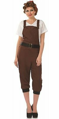 1940s LAND GIRL COSTUME, DUNGAREES/TOP/HEADSCARF, WARTIME, WW2 FANCY DRESS