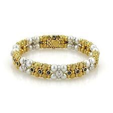 Designer Signed ZANCAN 2.42ct Sapphire & Diamond Pearls 18k Gold Bracelet