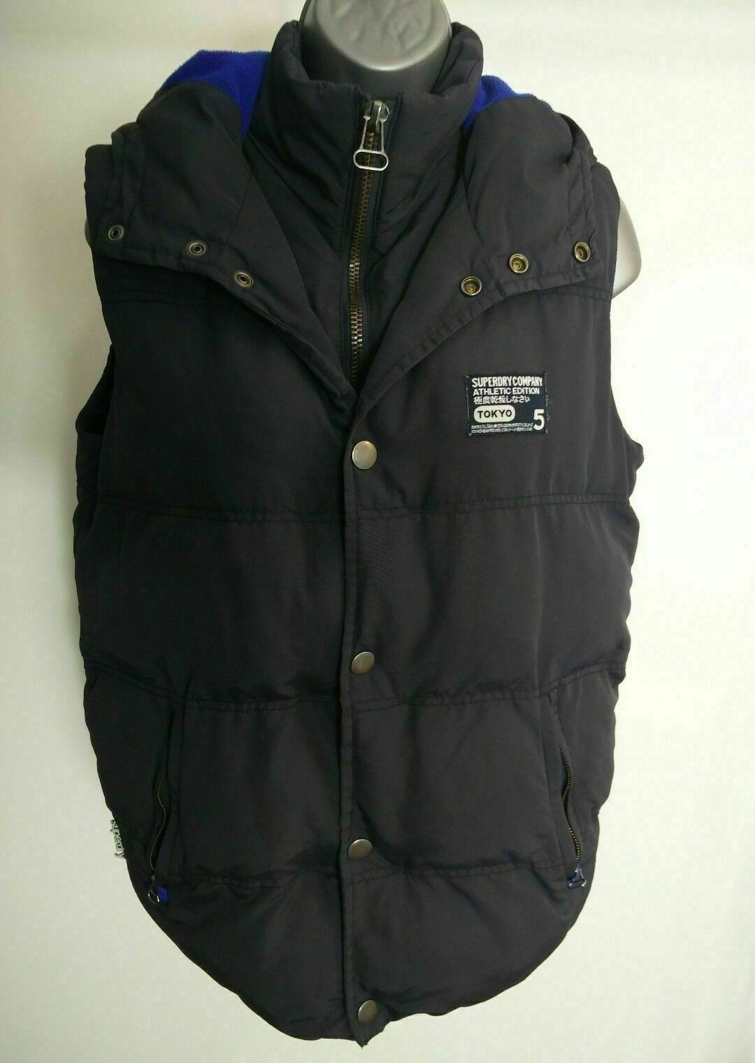 SUPERDRY NAVY blueE BODY WARMER SHELL S SMALL
