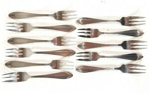 Vintage-Gero-Zilmeta-Cutlery-Dutch-Pastry-Forks-11x-B809