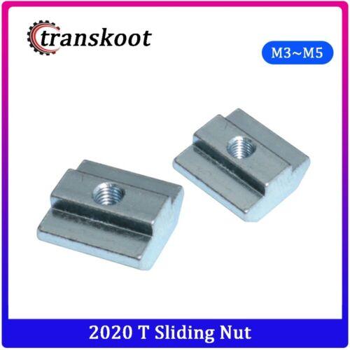 100pcs//50pcs//lot T Sliding Nut Block M3 M5 For 2020 Aluminum Profile Slot 6 Zinc