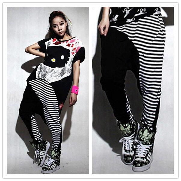 New Adult Stripe Spliced Sweatpants Costumes patchwork Harem Hip Hop Dance Pants