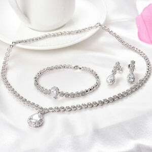 Image Is Loading Huche White Gold Filled Shire Wedding Necklace