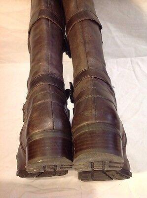 Mitica CUERO MARRÓN rodilla alta botas talla 37