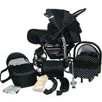 Baby Pram Child Stroller - Pushchair + Car Seat - Carrycot 3in1 - Buggy Bag