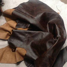 FR20 Leather Cow Hide Cowhide Upholstery Craft Fabric Distressed Brown 20 sq ft