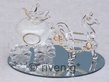 Horse & Pumpkin Carriage@CINDERELLA@Cake Topper@Table Decor@WHITE GLITTERED GIFT