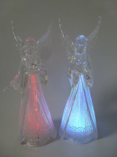 Straits Clear//Frosted Acrylic LED Colour Change Angel 22cm 2 Asst Christmas Dec