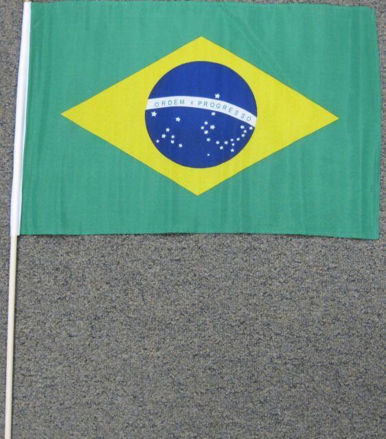 """BRAZIL FLAG 12X18 12/"""" X 18/"""" BRAZILIAN WOOD STICK W21"""