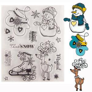 Silikonstempel-Weihnachten-Schneemann-Handschuhe-Cutter-DIY-Scrapbooking-Card