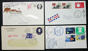 US-Postage-Set-of-4-Covers-Letters-Illustrated-Airmail-GS-Rnd-USA-H-8234