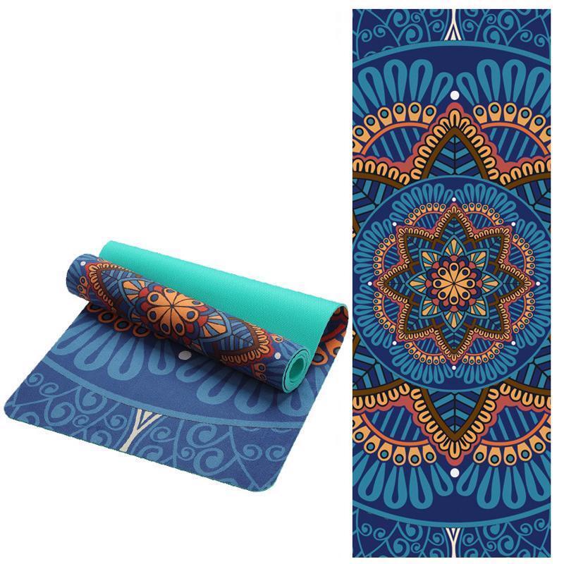 Yoga Mat Lotus Pattern Non Slip Pilates Slimming Exercise Fitness Gymnastic Tool