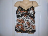 Spenser Jeremy Animal Print & Black Lace 100% Silk Camisole Top Blouse Sz S