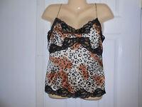 Spenser Jeremy Animal Print & Black Lace 100% Silk Camisole Top Blouse Sz S