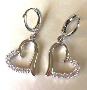 Details About Tz Plum Uk White Gold Fill Sim Diamond Huggie Hoop Heart Dangle Earrings Boxd