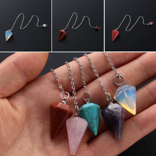 Gemstone Rock Reiki Pendulum Pendant Healing Crystal Natural Stone Amulet