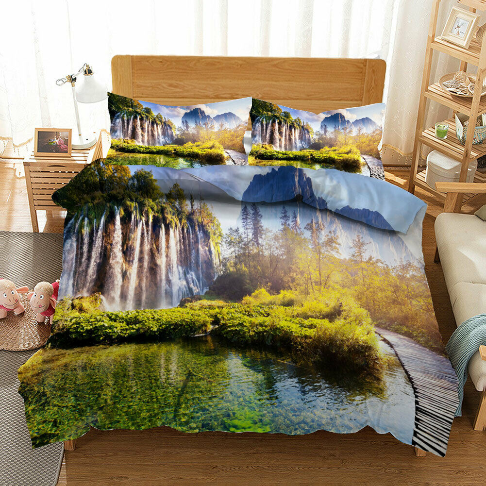 Mountains ,Trees 3D Quilt Duvet Doona Cover Set Single Double Queen King Print