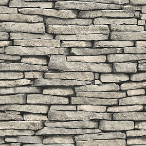 Stone Grey Brick Wallpaper Roll Wall Background Texture