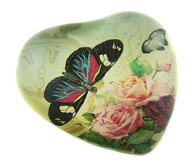 VINTAGE DESIGN ART GLASS PAPERWEIGHT ORNAMENT - Butterfly Rose - Free Local Post