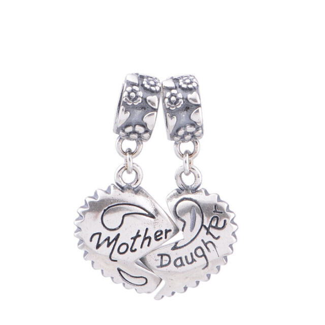 MOTHER DAUGHTER Love Heart Sterling Silver Charm for Sterling Silver Bracelet