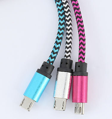 Braided Micro To Usb Cable Phone Charger Samsung Galaxy Android Pink Blue Silver