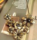 Gorgeous Vintage With Black Rhinestone Bronze Chain Pendant Retro Necklace