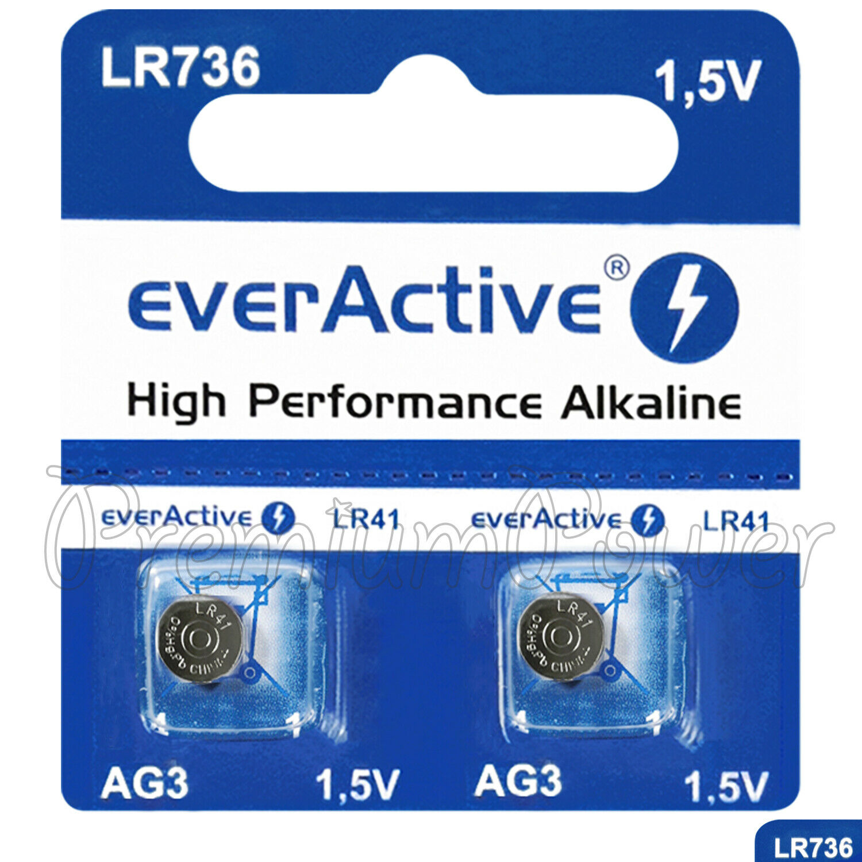 2 x everActive AG3 LR41 Alkaline batteries LR736 192 392 1.5V GREAT VALUE