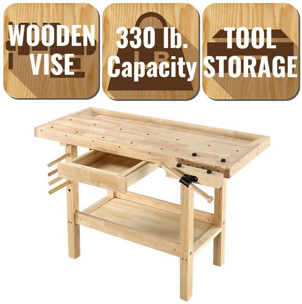 Hardwood Workbench Built-In Wooden Vise Garage Tool Tool Tool Storage Workshop Counter Top 056ab4