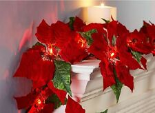 Lighted Poinsettia Flower Garland with LED Lights 2 -Pack