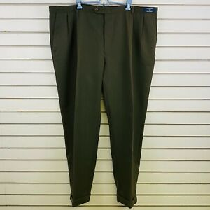 Mens 48x32 Austin Reed Pants Olive Green Microfiber Cuffed Hem Pleated Front Ebay