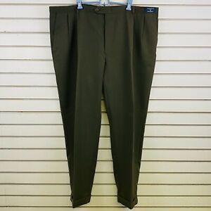 Mens 48x32 Austin Reed Pants Olive Green Microfiber Cuffed Hem Pleated Front Ebay