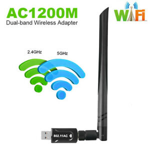 WiFi Adapter 1200Mbps WLAN Empfänger Stick Dongle USB DualBand für PC MAC Win10