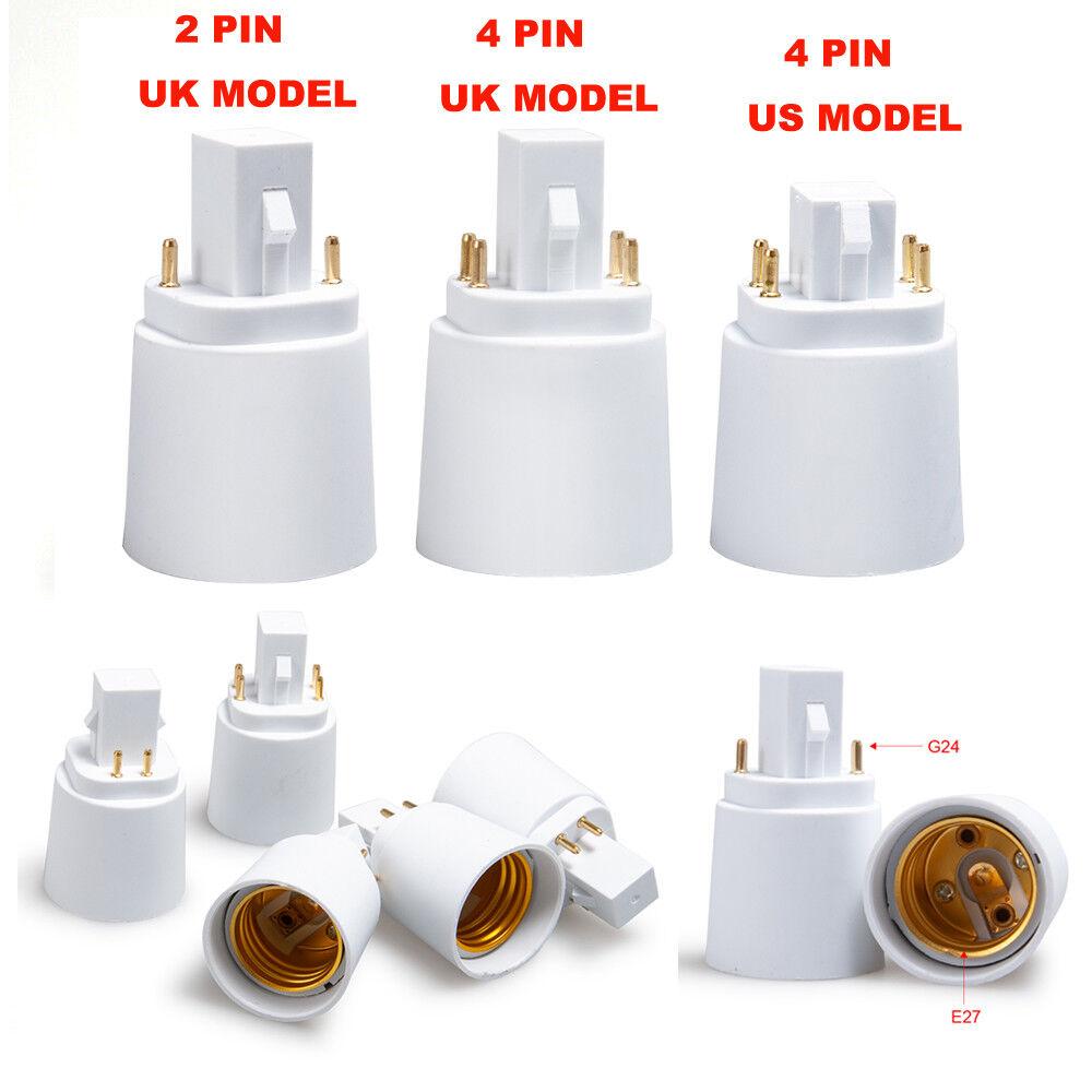 G24 a E27 Zócalo LED Bombilla Luz Lámpara Adaptador Converdeidor Soporte Tipo Pbt EE. UU. RU