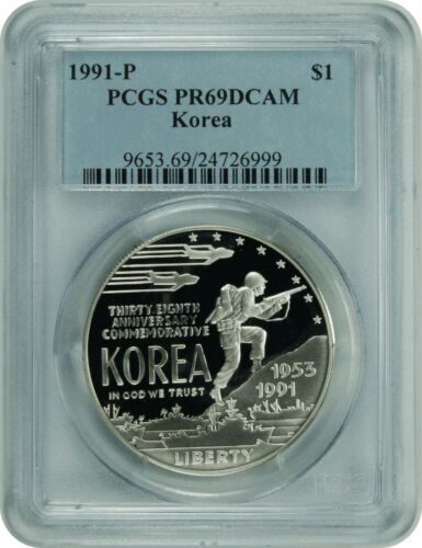 1991-P PCGS PR69DCAM Korea Commemorative Dollar