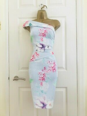 Summer Navy Blue Floral Evening Occasion Races Bodycon Midi Wiggle Dress £65