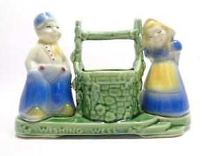 VINTAGE-1940s-SHAWNEE-POTTERY-DUTCH-JACK-amp-JILL-WISHING-WELL-FLOWER-POT-PLANTER