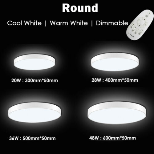 20W-72W LED Ceiling Light Dimmable Thin Flush Mount Kitchen Lamp Home Fixture