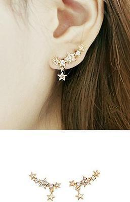 YO US Pair New Korea Style Gold Plated Alloy Rhinestoner Star Earrings Ear Stud