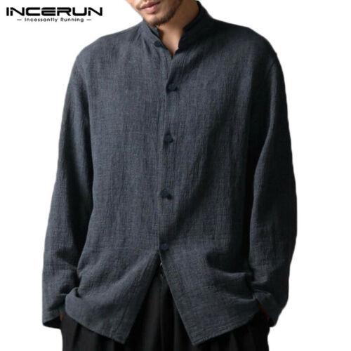 UK STOCK Mens Cotton Long Sleeve Buttons Casual Loose Tops Shirt Cardigan Coat