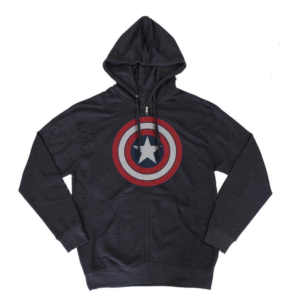 Marvel - captain america belastete logo blau zip up kapuzenpulli sweatshirt