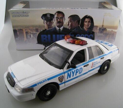 bluee bluee bluee Bloods Jamie Reagan Ford Crown Victoria Police Interceptor Greenlight  1 18 14f42d
