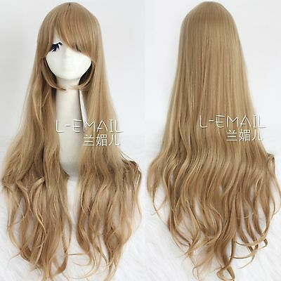 Women TIGER×DRAGON Aisaka Taiga BrownAnime Long Wave Full Hair Cosplay Wig