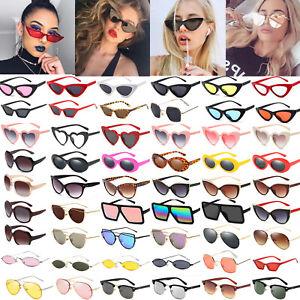 Coole Damen Sonnenbrille Retro Kunststoff  Brille Vintage schwarz oder weiss