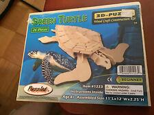 3D Wood Puzzle 26 pieces 3D Natural Wood Green Turtle Puzzle