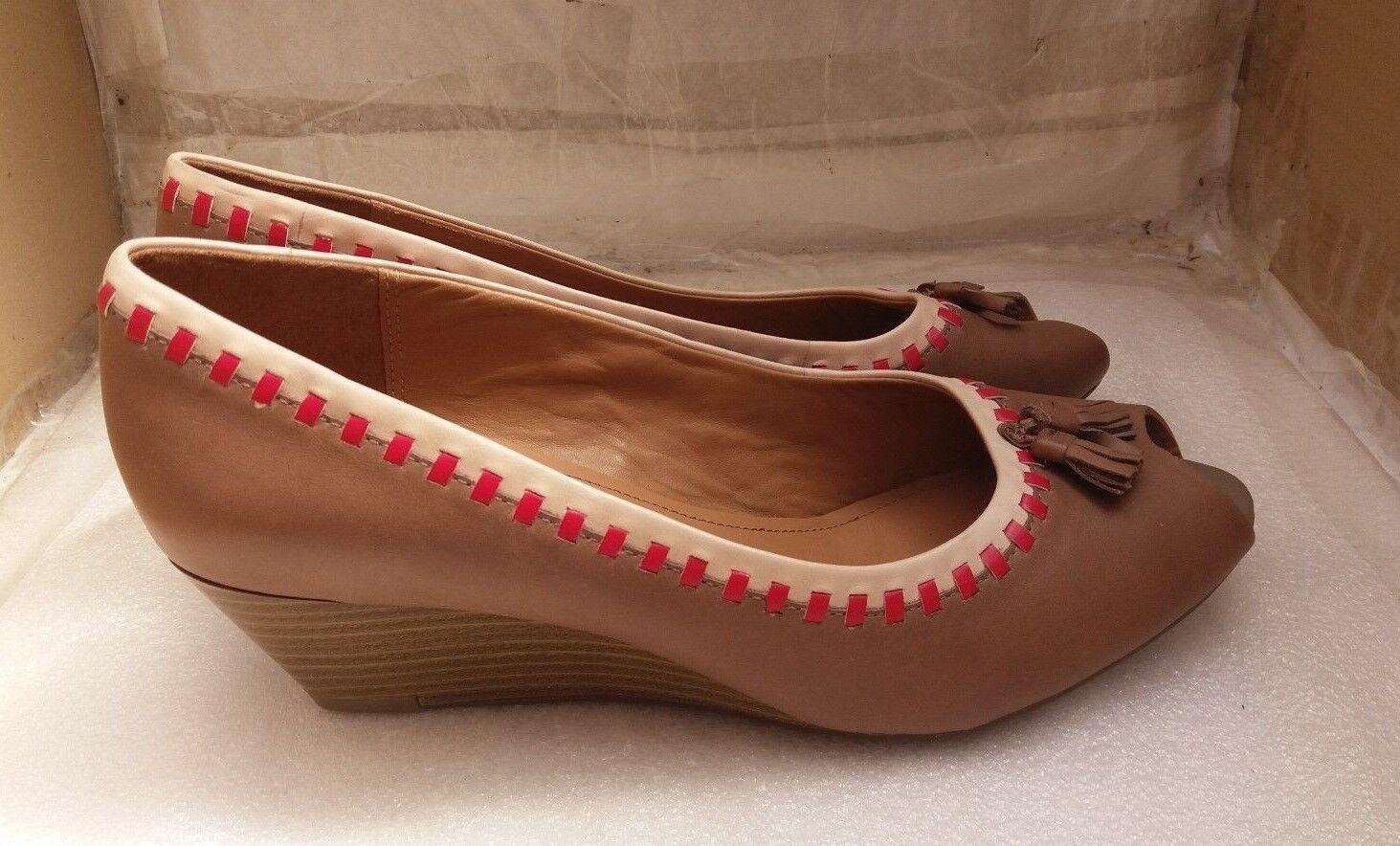 clarks mesdames tan tan tan tassel les escarpins wedge talon de chaussures en cuir  d bbc1f8