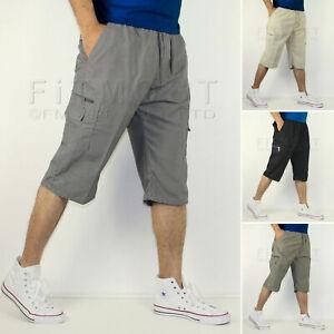 Pantalon Corto Para Hombre Longitud Largo 3 4 Cintura Elastica Pantalones Cortos De Carga De Combate De Tres Cuartos Ebay