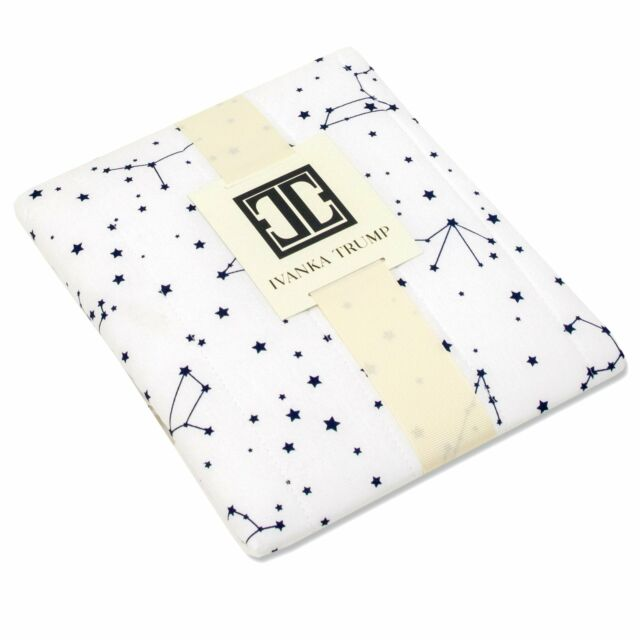 Ivanka Trump Stargazer Collection Contoured Diaper Pad Cover for Diaper Changer Galaxy Star Pattern in White and Blue