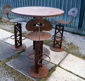 an antique industrial french bistro table and chairs ebay rh ebay co uk Walmart Bistro Table and Chairs Walmart Bistro Table and Chairs